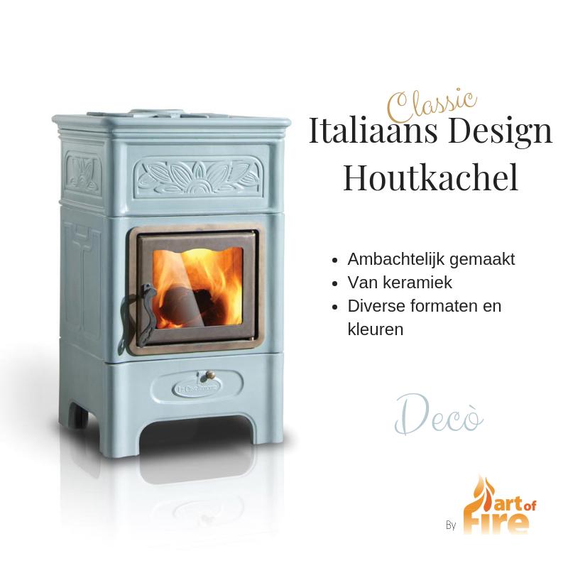 traditionele houtkacheltje keramiek italiaans design