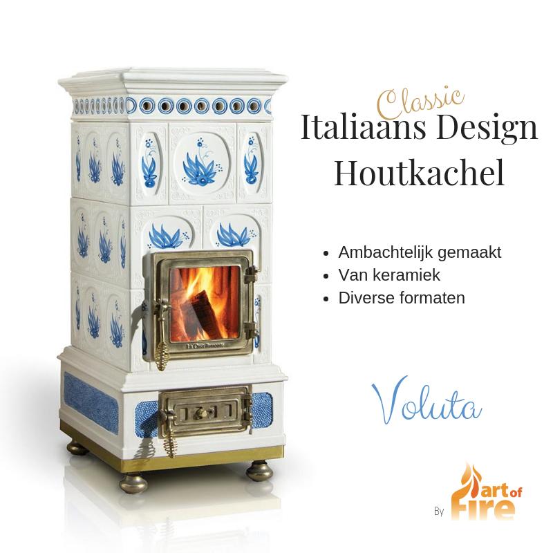 Keramieke houtkachel italiaans design