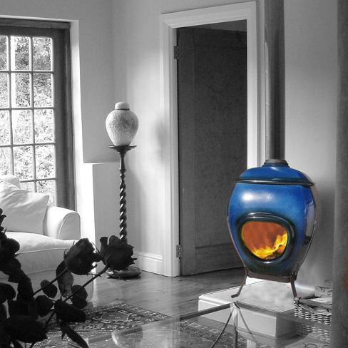 African Flame pothaard keramiek Blue zw-w
