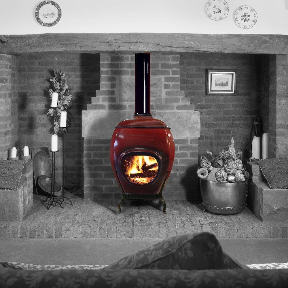 African Flame pothaard keramiek Red zwarwit