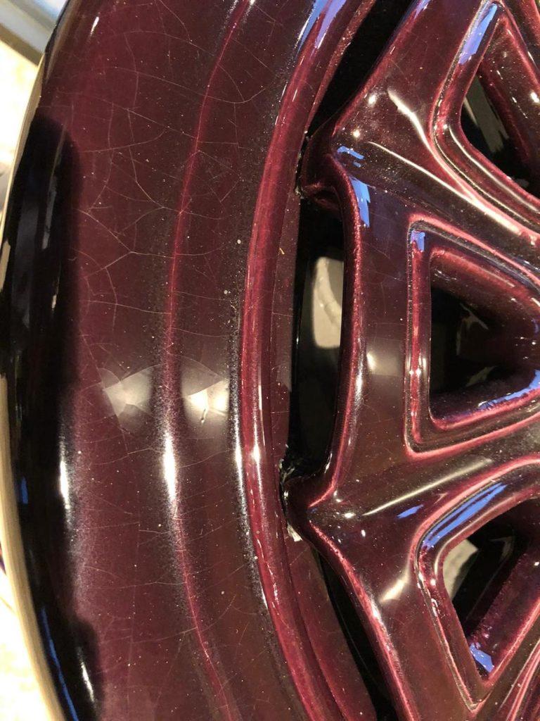 Rondo 1 st size , kleur aubergine met details in bladgoud en platina 6