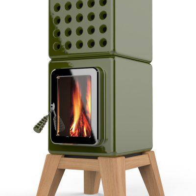 Art of Fire Cubi Stack groen houtkachel