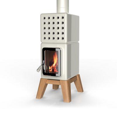 Art of Fire vierkante Italiaanse houtkachel wit