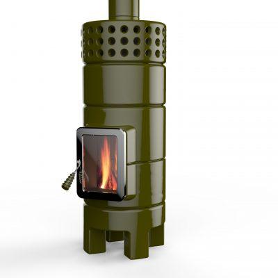 Art of Fire houtkachel keramiek round stack groen