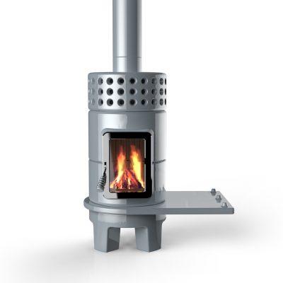 Art of Fire houtkachel keramiek round stack side grey