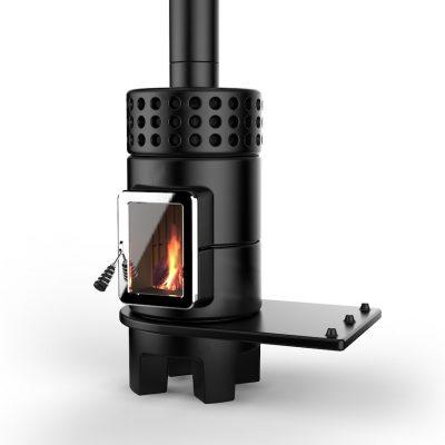 Art of Fire houtkachel keramiek round stack side mat zwart