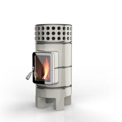 Art of Fire houtkachel keramiek round stack slim