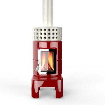 Art oaf Fire houtkachel keramiek roundstack long