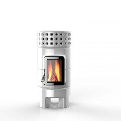 Art of Fire houtkachel keramiek roundstack-slim-white