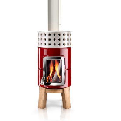 Art of Fire houtkachel keramiek roundstack wood rood wit