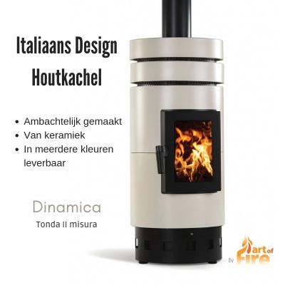 Italiaanse design houtkachel keramiek rond